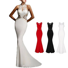 Women Sexy Backless Slim Maxi Formal Prom Wedding Party Gown Evening Long Dress
