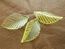 35mm 15/30pcs CLEAR YELLOW ACRYLIC PLASTIC LEAF BEADS CHARMS CM4633