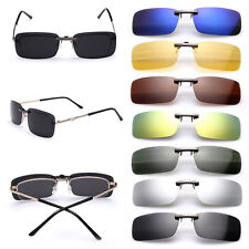 Polarized Sunglasses Clip On Flip-up Driving Glasses Day Night Vision Lens UV400