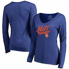 New York Mets Women's Royal Front Sweep Slim Fit Long Sleeve T-Shirt - MLB