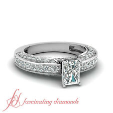 1.30 Ct Radiant Cut SI1-D Color Diamond Cathedral Engagement Ring Pave Set GIA