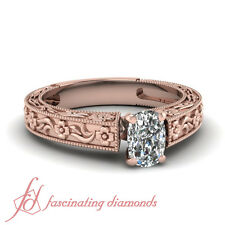 .85 Ct 14K Rose Gold Solitaire Milgrain Engagement Ring With Cushion Cut Diamond