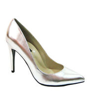 "Highest Heel Womens 4"" Plain Pump Silver Metallic Patent PU Shoes"