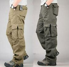 Fashion Men Casual Cotton Blend Loose Cargo Work Pants Military Trouser Pockets