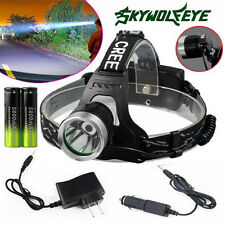 5000LM CREE XM-L T6 LED Headlight Head Lamp Zoomable Torch+2x18650+Charger