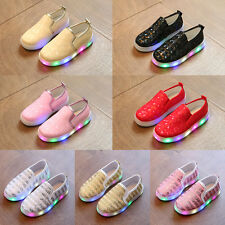 New Kids Girl Boy Luminous LED Light Up Lace Up Shoes Soft Flat Slip-on Sneakers