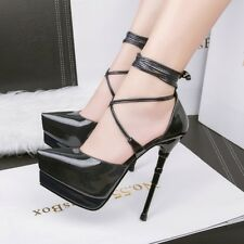 Hot Crossing Strappy Lace Up Ultra High Heels Platform Stiletto Club Women Shoes