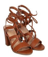 Wild Diva Lounge Whiskey Open toe Lace up Chunky Heels Women's shoes Jamie-34