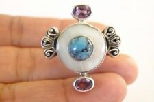 White Mother of Pearl Turquoise Purple Amethyst Sterling Silver Ring Size 7, 8