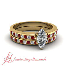 1.50 Carat Marquise Cut Yellow Gold Diamond And Ruby Wedding Ring Sets For Women
