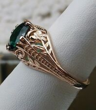 Edwardian Natural Emerald Solid 14K Rose Gold Filigree Ring Size: {MTO/Custom}