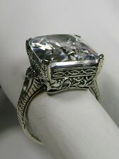 10ct White Gem Sterling Silver Edwardian/Victorian Filigree Ring Size: Any/MTO