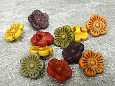11mm 50/100/200pcs ASSORTED ANCIENT COLORS ACRYLIC FLOWER BEADS FF5443