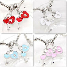 New 2pcs silver heart lock European Charm BeadS Fit 925 Necklace  Bracelet #8