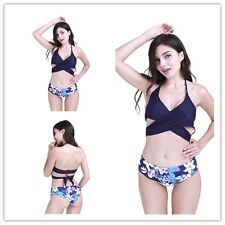 Swimwear Women Triangle Bikini Set Backless Floral Printed Bandage Swimsuit Sexy