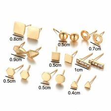 Fashion Bulk 9Pairs Silver/Gold Tone Ear Stud Earrings Set Women Lady Jewelry