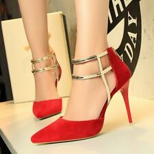 Pointed Toe High Heels Stiletto Sandal Hollow Out  Back Zip Suede OL Women Shoes