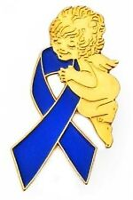 Blue Ribbon Pin Guardian Angel Awareness Colon Cancer Crohn's Many Cancer Causes