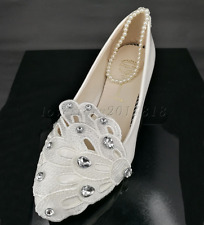 White crystal Wedding flat ballet lace flowers Bridal shoes Bridesmaid shoes