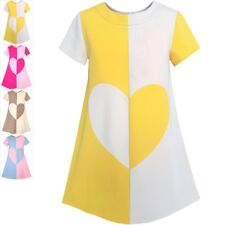 Sunny Fashion Girls Dress Color Contrast Heart A-line Sundress Age 5-12 Years