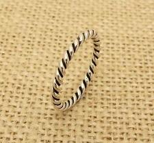 925 Sterling Silver 2mm Twisted Rope Finger or Thumb Band Stacking Ring