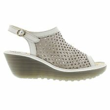 Fly London Yuti734Fly Silver / Off White Women Cut Out Leather Wedge Sandals New