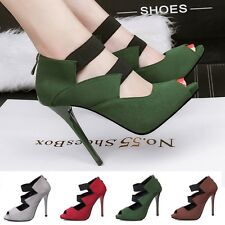 Peep Toe Shallow Elastic Cord Suede Pumps High Heels Stilettos Daily Women Shoes