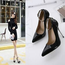 Pointed Toe Shallow Pumps  High Heels Stilettos Ankle Strap Buckle Women Shoes