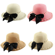 Women Straw Imitation Pearl Decor Brimmed Beach Hat Foldable Topee Floppy Cap
