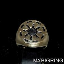 ROUND BRONZE MEN STAR WARS RING GALACTIC REPUBLIC COAT OF ARMS ANTIQUED ANY SIZE
