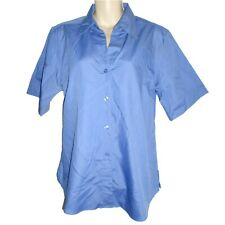 size 12 blue work shirt short sleeve Glo Weave excellent quality relaxed fit NEW