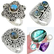 Natural labradorite 925 sterling silver ring jewelry by jewelexi 4788A