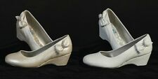 New Girls IVORY or WHITE Dress Shoes Wedge Heal w/ Bow Rhinestone Youth Size 9-4