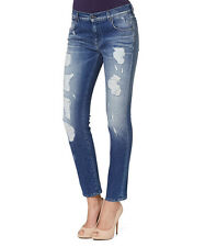 7 For All Mankind Womens Relaxed Skinny Distressed Blue Denim Jeans Cropped