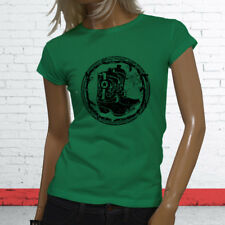 RODEO COWBOY BOOTS BLACK COUNTRY WESTERN COWGIRL Womens Green T-Shirt