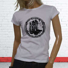 RODEO COWBOY BOOTS BLACK COUNTRY WESTERN COWGIRL Womens White T-Shirt