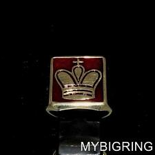 SQUARE BRONZE MEDIEVAL MEN RING CROWN OF THE KING CHESS SYMBOL DARK RED ANY SIZE
