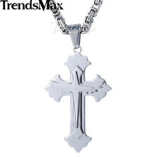 Mens Pendant Necklace Silver Blue Black Gold Stainless Steel Winged Cross