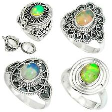 Natural ethiopian opal 925 sterling silver ring jewelry by jewelexi 4807A