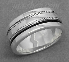 Sterling Silver MENS SPINNER WORRY RING KNURLED COIN EDGE SPINNING BAND sz 7-11