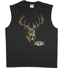 Men's sleeveless shirt Mossy Oak deer hunting decal design tank top muscle tee