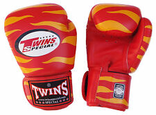 Thai Boxing Gloves Muay Thai TWINS Tiger red & yellow leather