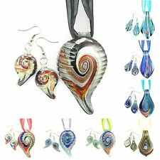Gold Silver Swirl Leaf Murano Glass Lampwork Beads Pendant Necklace Earrings Set