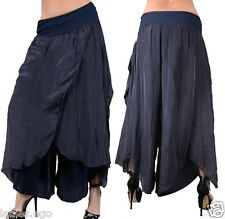LAYERED LOOK SILK SUMMER TROUSERS BAGGY TROUSERS HAREM PANTS 34 36 38 40 42 BLUE