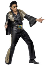Rock And Roll Black and Gold Elvis Presley Rock Star Fancy Dress Costume