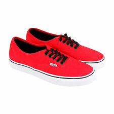 Vans Authentic Mens Red Canvas Lace Up Lace Up Sneakers Shoes