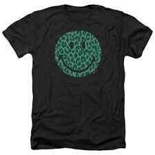 Smiley World Purrfect Face Mens Heather Shirt Black