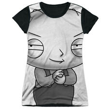 Family Guy Stewie Head Juniors Sublimation Black Back Shirt WHITE