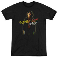 Acdc Powerage Mens Adult Heather Ringer Shirt Black
