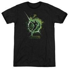 Green Lantern Shadow Lantern Mens Adult Heather Ringer Shirt Black